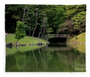 Japanese Garden Bridge Reflection Fleece Blanket