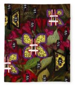 Japanese Butterflies In Modern Style Fleece Blanket