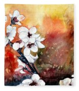 Japanese Cherry Blossom Abstract Flowers Fleece Blanket
