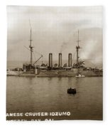 Japanese Cruiser Izumo In Monterey Bay December 1913 Fleece Blanket