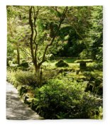 Japanese Garden At Butchart Gardens In Spring Fleece Blanket