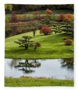 Japanese Garden Autumn Fleece Blanket