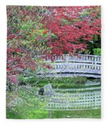 Japanese Garden Bridge In Springtime Fleece Blanket