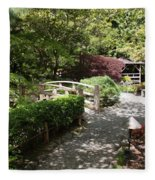 Japanese Garden Path With Azaleas Fleece Blanket