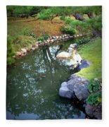 Japanese Garden Reflection Fleece Blanket