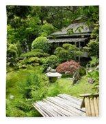 Japanese Garden Teahouse Fleece Blanket