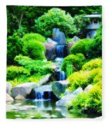 Japanese Garden Waterfall Fleece Blanket