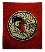 Japanese Katana Tsuba - Golden Crane On Black Steel Over Red Velvet Fleece Blanket