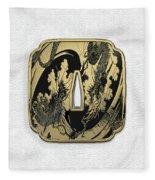 Japanese Katana Tsuba - Golden Twin Dragons On Black Steel Over White Leather Fleece Blanket
