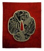 Japanese Katana Tsuba - Golden Twin Koi On Black Steel Over Red Velvet Fleece Blanket