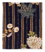 Japanese Maple And Chrysanthemum Modern Interior Art Painting. Fleece Blanket