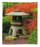 Japanese Maple And Lantern 1 Fleece Blanket