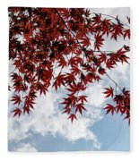 Japanese Maple Red Lace - Horizontal View Downwards Right Fleece Blanket