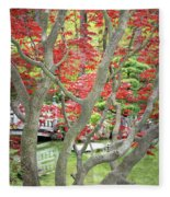 Japanese Maple Tree And Pond Fleece Blanket