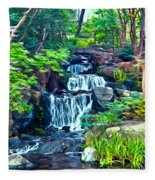 Japanese Waterfall Garden Fleece Blanket