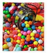 Jar Spilling Bubblegum With Candy Fleece Blanket