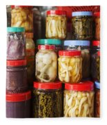 Jars Of Asian Style Pickles In Kep Market Cambodia Fleece Blanket