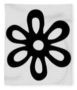 Camellia - Black  Fleece Blanket
