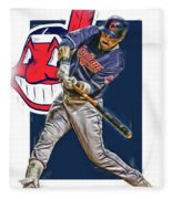 Jason Kipnis Cleveland Indians Oil Art Fleece Blanket