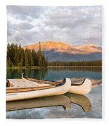 Jasper Lake Canoes Fleece Blanket