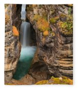 Jasper Maligne Canyon Waterfall Fleece Blanket