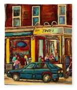 Java U Coffee Shop Montreal Painting By Streetscene Specialist Artist Carole Spandau Fleece Blanket