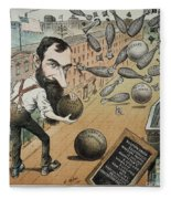 Jay Gould Cartoon, 1882 Fleece Blanket