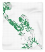 Jaylen Brown Boston Celtics Pixel Art 11 Fleece Blanket