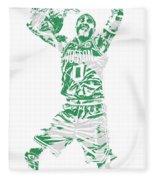 Jayson Tatum Boston Celtics Pixel Art 11 Fleece Blanket