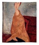 Jeanne Hebuterne In A Yellow Jumper Fleece Blanket
