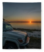 Jeep Driver Watching Sunset Over Peaceful River Fleece Blanket