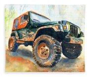 Jeep Wrangler Watercolor Fleece Blanket