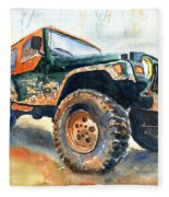 Jeep Wrangler Watercolor Fleece Blanket