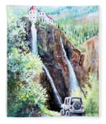 Jeeping At Bridal Falls  Fleece Blanket