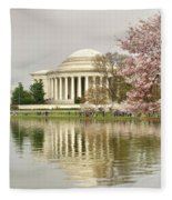 Jefferson Memorial Reflection I Fleece Blanket