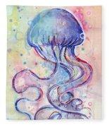 Jelly Fish Watercolor Fleece Blanket