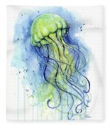 Jellyfish Watercolor Fleece Blanket