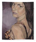Jenny In Black Fleece Blanket