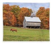 Jericho Hill Vermont Horse Barn Fall Foliage Fleece Blanket