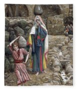 Jesus And His Mother At The Fountain Fleece Blanket