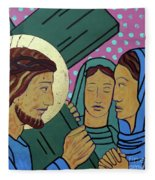 Jesus And The Women Of Jerusalem Fleece Blanket