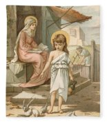 Jesus As A Boy Playing With Doves Fleece Blanket