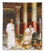 Jesus Being Interviewed Privately Fleece Blanket