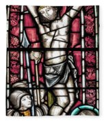Jesus Christ Crucifixtion Stained Glass Fleece Blanket