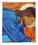 Jesus Falls Under The Cross Fleece Blanket