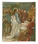 Jesus In Front Of Pilate Fleece Blanket