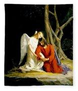 Jesus In Gethsemane Fleece Blanket