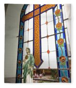Jesus In The Church Window And School Girls In The Background Fleece Blanket