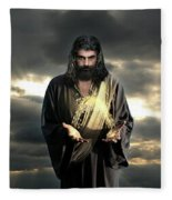 Jesus In The Clouds Fleece Blanket