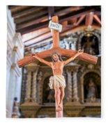 Jesus On The Cross In San Ramon, Bolivia Fleece Blanket